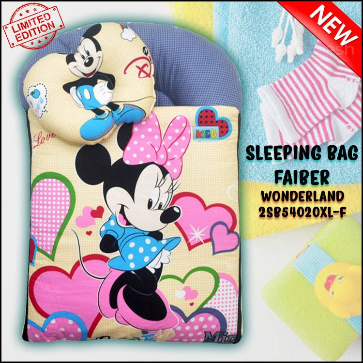 SLEEPING BAG FIBER MICKEY KAIN COTTON BALDU SAIZ BESAR XL WONDERLAND