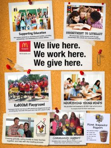 In-store poster promoting McDonald's® commitment to the local community