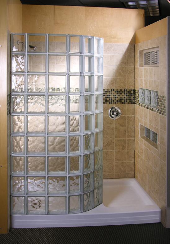 Glass block showers in st louis doorless shower wedi for Doorless glass shower