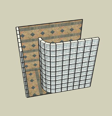 Graphic design of a glass block shower