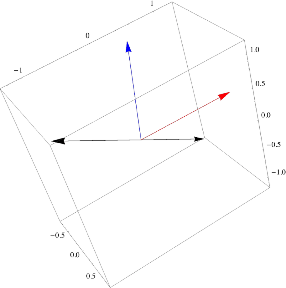 The two black arrows are both perpendicular to the red and blue vectors and have magnitude equal to the product of the magnitude of the two vectors times the $latex \sin$ of the angle in between them. One of these is the cross product. The right hand rule tells us which one.