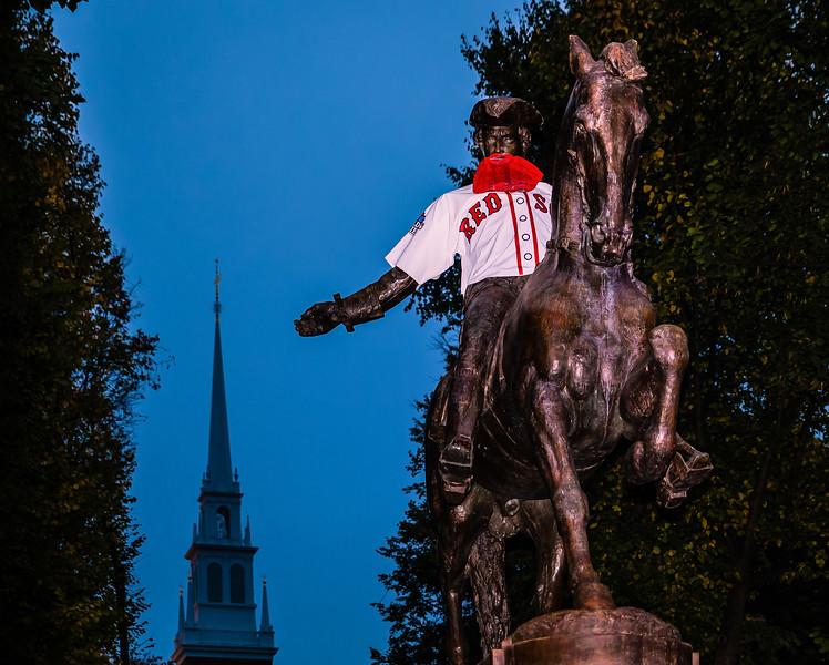 Paul Revere Statue with Red Sox Jersey and Beard - World Series 2013