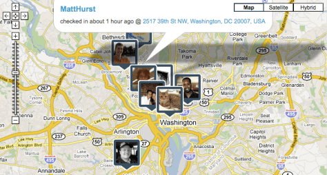 Map of friend's check-ins on Brightkite in DC
