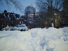 snow fort (in front of the playground)