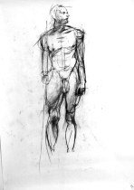 A charcoal life drawing of male model Andres, standing with a oile in one hand
