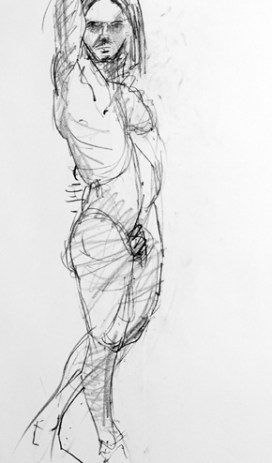 life model ruby in pencil standing side on with nearest arm over head