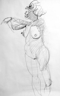 life model ruby in pencil standing with both hands reaching out resting on pole