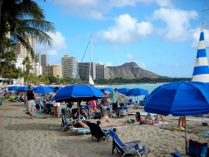 Lounging on the beach in Waikiki, Hawaii