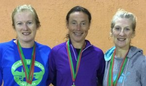 Mayo Athletic Board 10k top three women and Senior team winners: Angela McVann 3rd, Colette Tuohy 1st, Ann Murray 2nd