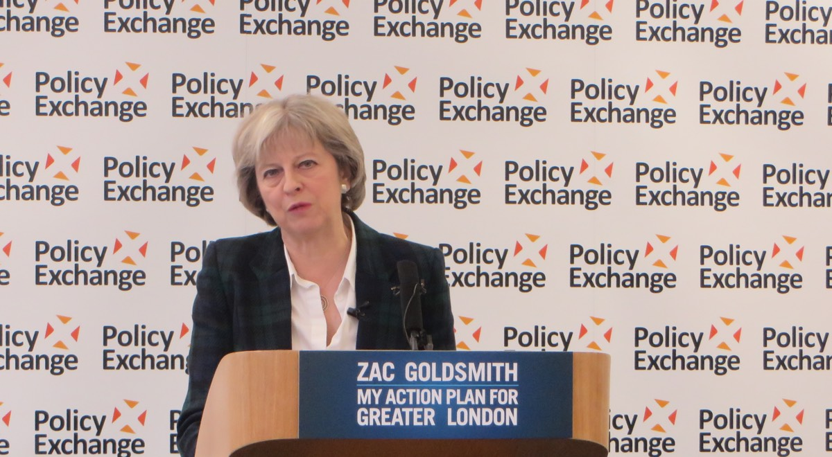 Theresa May campaigning for Zac Goldsmith during the 2016 City Hall elections.