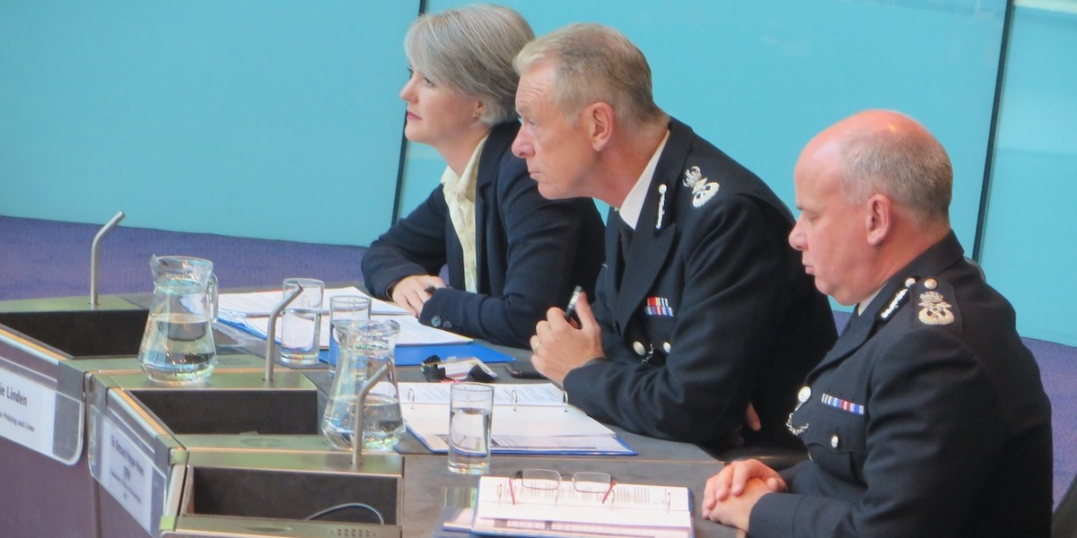 Deputy Mayor Sophie Linden, Commissioner Sir Bernard Hogan-Howe and Deputy Commissioner Craig Mackey appearing before the London Assembly