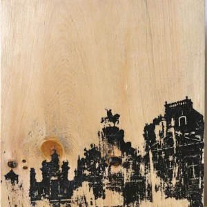 Distressed print of the Grand'Place in Brussels, Belgium