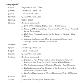 Preliminary NYC Conference Schedule