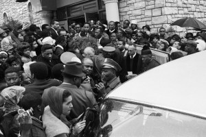 A huge crowd gather outside Tabernacle Baptist Church during Sam Cooke's rites in Chicago, December 17, 1964