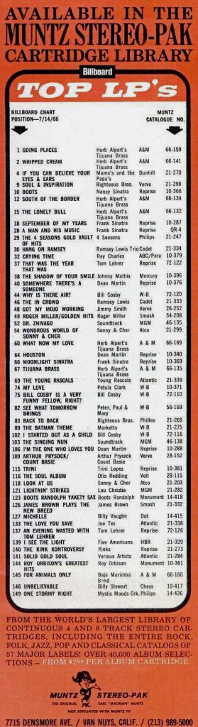 BILLBOARD TOP LP's: MUNTZ STEREO PAK CARTRIDGES May 14, 1966 (click image for detailed view