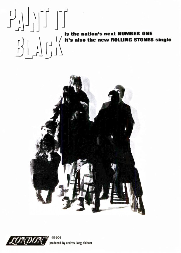"""A LONDON RECORDS AD BILLBOARD PAGE RIP: """"Paint It Black"""" THE ROLLING STONES May 14, 1966 (click on image 2x for largest view)"""