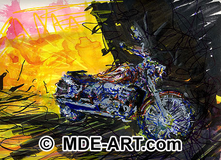 A painting of a Motorcycle