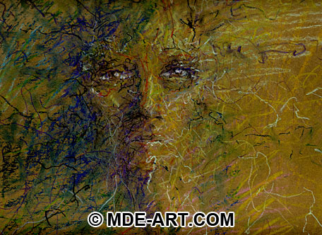 Abstract Expressive Portrait Drawing of a Face with Oil Pastels