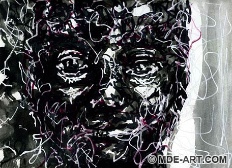 Abstract Face Sketch with Watercolor and Markers in Black and White