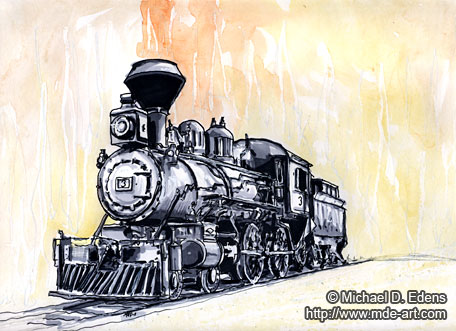 Drawing of a Steam Engine Train