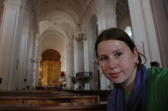 Megan visiting church