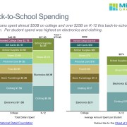 Total Spending by Age and Category in a Marimekko Chart and Average Spend per Student by Category in a Stacked Bar Chart