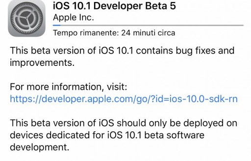 Apple rilascia iOS 10.1 beta 5 ecco i link download e novità