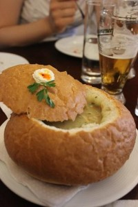 Chicken potato soup in a bowl of bread. (Photo courtesy of Sandra Ionescu)