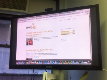 Putting the old site up on the big screen so we could all brainstorm together