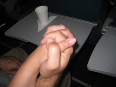 Tony and I hold hands on the flight, hoping to capture all the memories and keep them tucked away, safe.