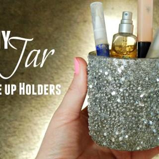 Eye Makeup Tutorial + DIY Glitter Jar Makeup Holder