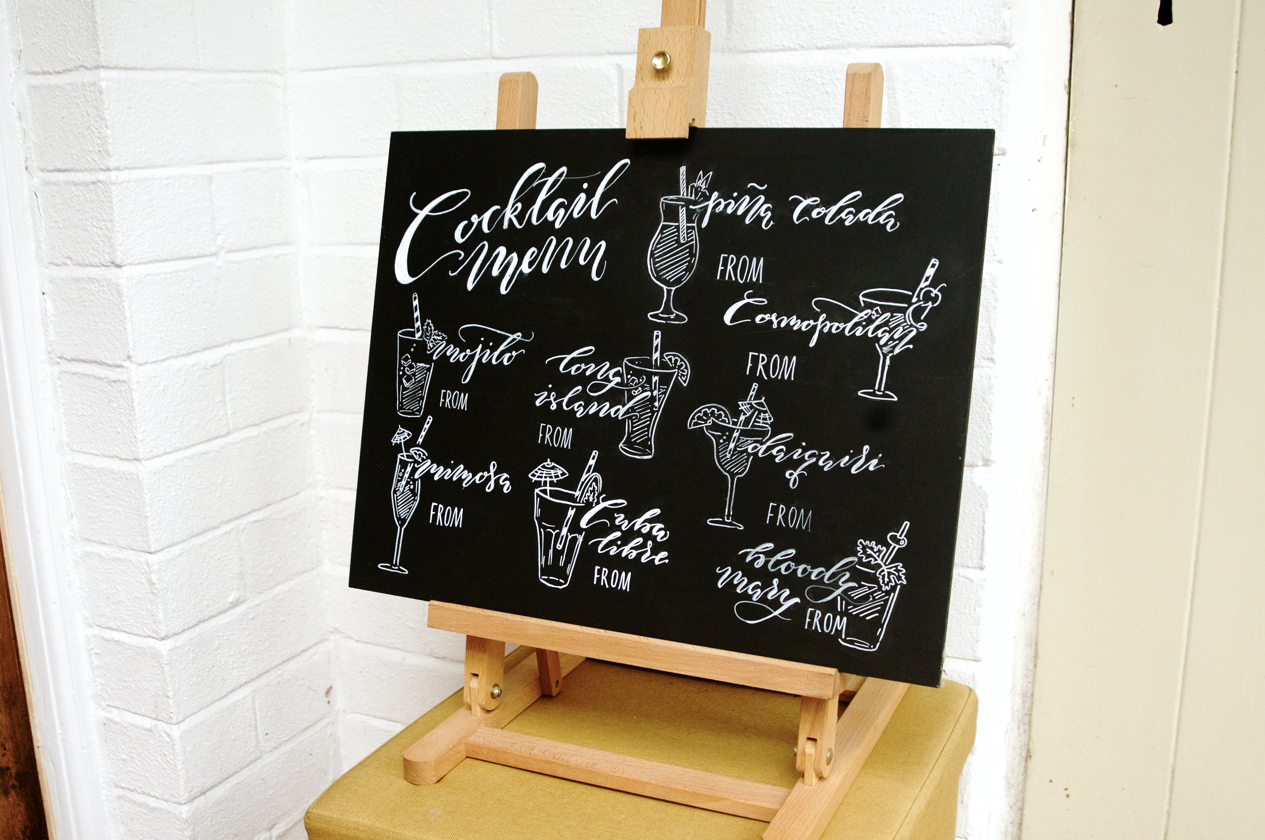 Hand lettered personalised chalkboards/ blackboards by Mellor and Rose in Lancashire for Weddings, Parties, Restaurants and Cafes