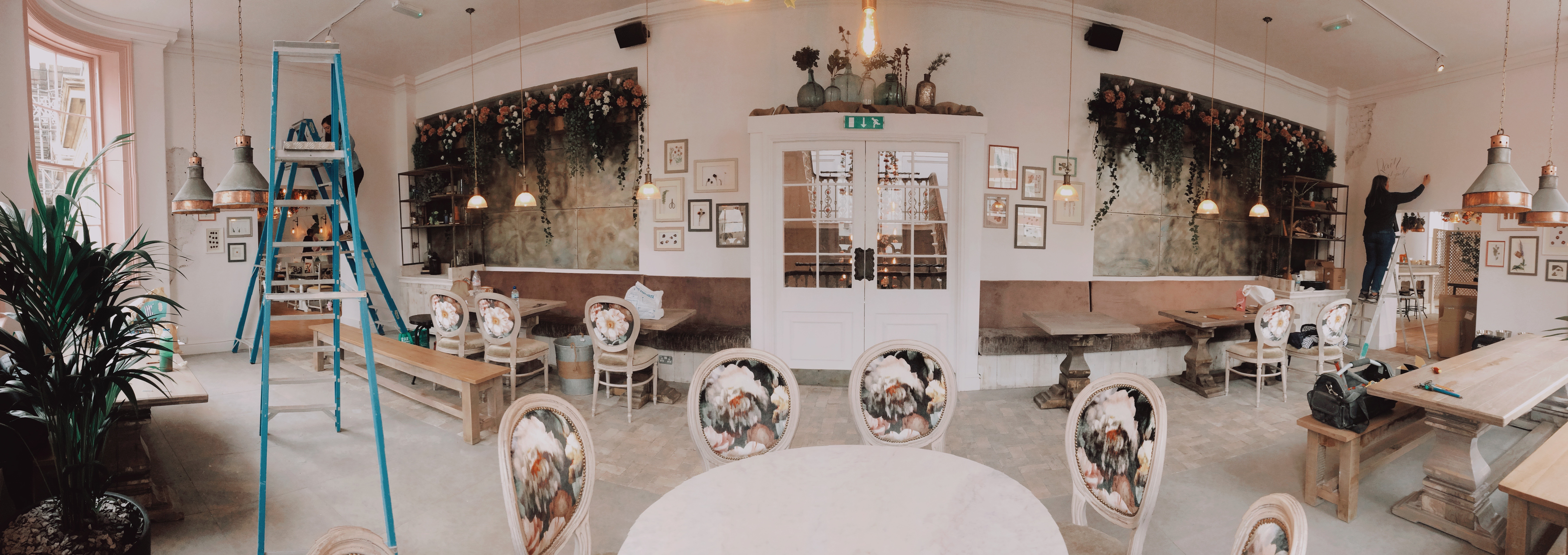 Hand lettered murals at The Florist in Liverpool by Mellor and Rose