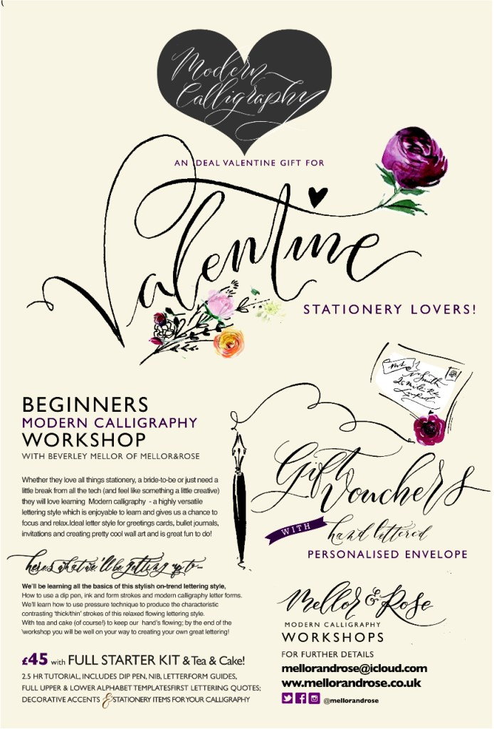 Beginners Modern Calligraphy workshop Gift Vouchers with Mellor and Rose