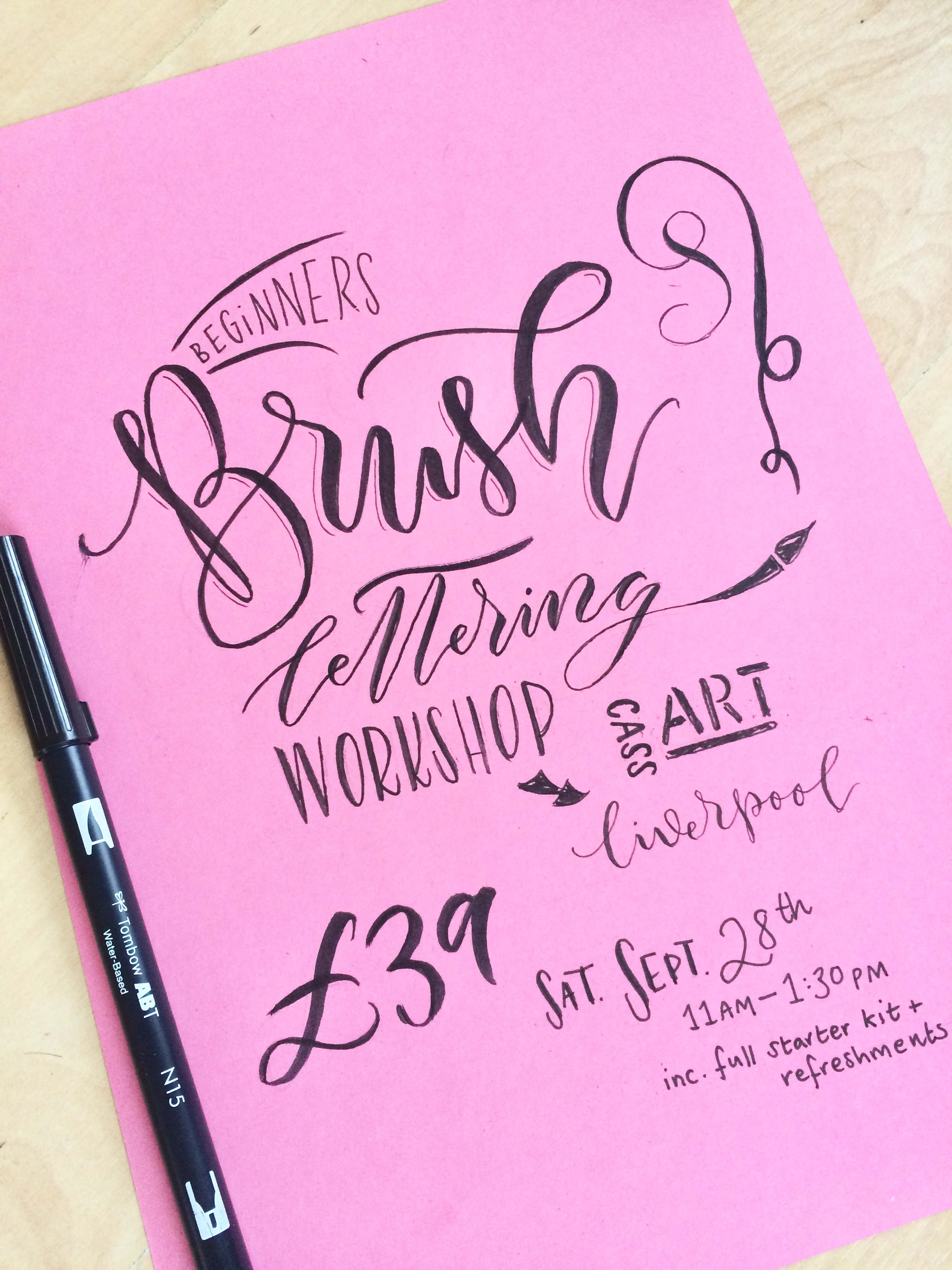 Beginners Modern Calligraphy workshop at CASS Art Liverpool with Mellor and Rose