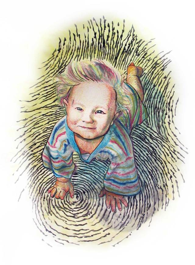 Portrait of Baby Adrian (color pencils).