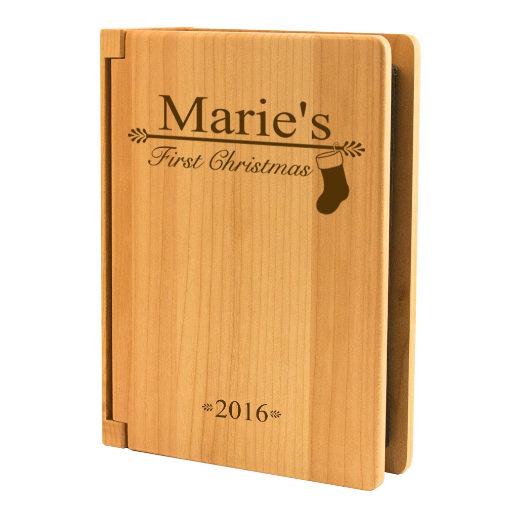 Lovable Babys Personalized Maple Wood 4x6 Photo Album 10778 Li Baby S Stocking Baby S Clos inspiration Babys First Christmas