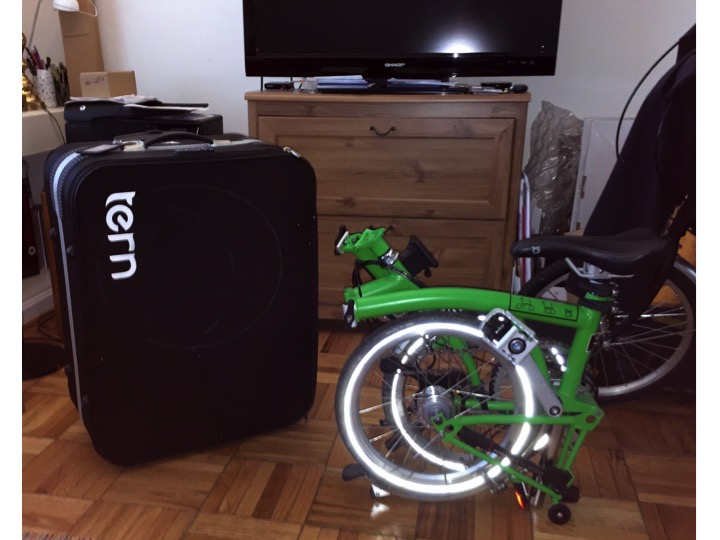 Up Up and Away with my new Brompton Folding Bike For Airline Travel using a Tern Airporter Mini and the Samsonite F'Lite GT Spinner 31