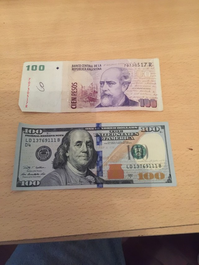 From 1991 to 2001 the Argentine peso had convertibility with the US Dollar at a rate of one to one. The picture show an AR$100 note, and a US $100 note.
