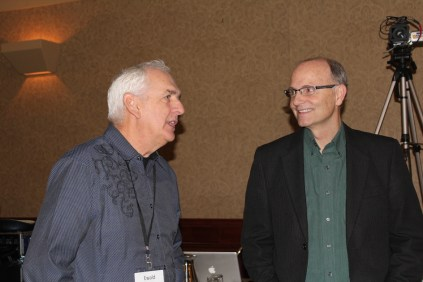 Ewald Unruh of Winnipeg (left) and Keith Taylor, pastor of Beulah Alliance Church, Edmonton. (Photo by Gladys Terichow)