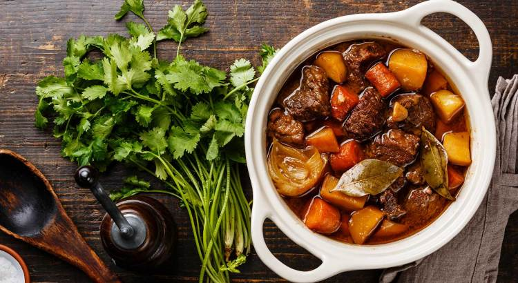 Delicious beef stew from slow cooker