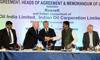 Petroleum Minister Dharmendra Pradhan on the occasion of sighing the agreement between Indian & Russian companies in New Delhi on March 16, 2016.