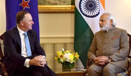 PM Narendra Modi with New Zealand Prime Minister John Key in Washington DC. March 31, 2016.