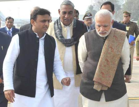 File Photo: Uttar Pradesh Chief Minister Akhilesh Yadav with Prime Minister Narendra Modi during his visit to the state in January this year.