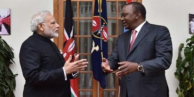 Prime Minister Narendra Modi with Kenyan President Uhuru Kenyatta.