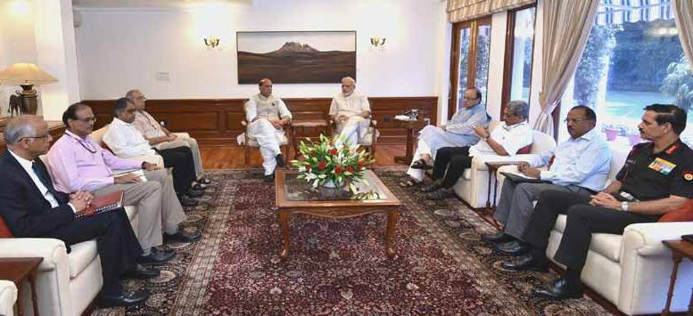 Home minister Rajnath Singh, finance minister Arun Jaitley, defence minister and top security brass attended the meet chaired by PM Modi.