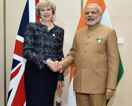 Prime Minister Narendra Modi with his UK counterpart Theresa May at G20 summit meeting in China.