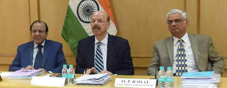 Chief Election Commissioner, Dr. Nasim Zaidi along with the Election Commissioners, A.K. Joti and O.P. Rawat.