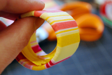 Merriment :: Recycled Fabric Napkin Rings from Sarah Wrap Tubes by Kathy Beymer