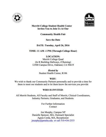 Health Fair Invitation SPR 2016